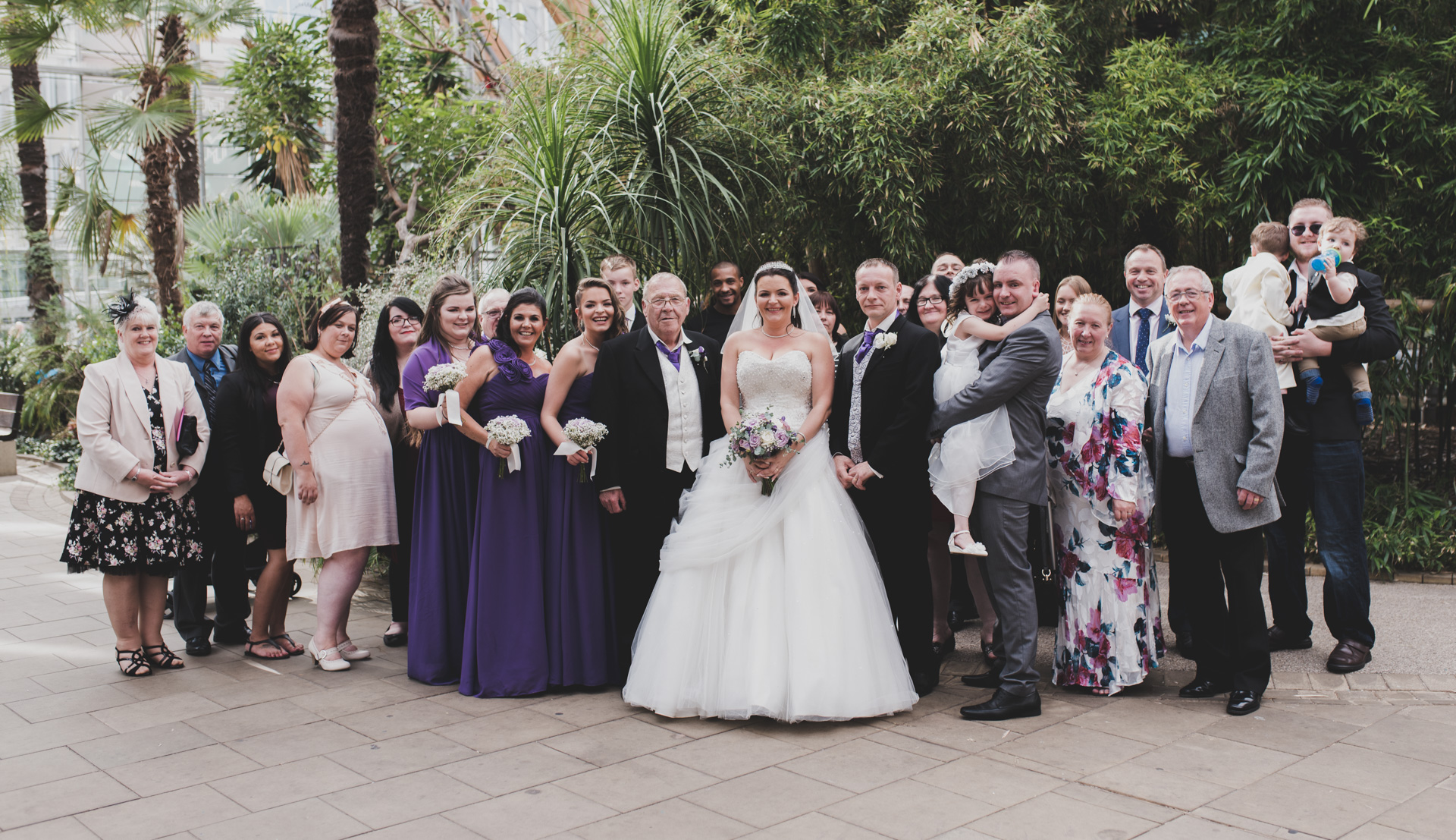 Sheffield Winter Garden Wedding Group Photo